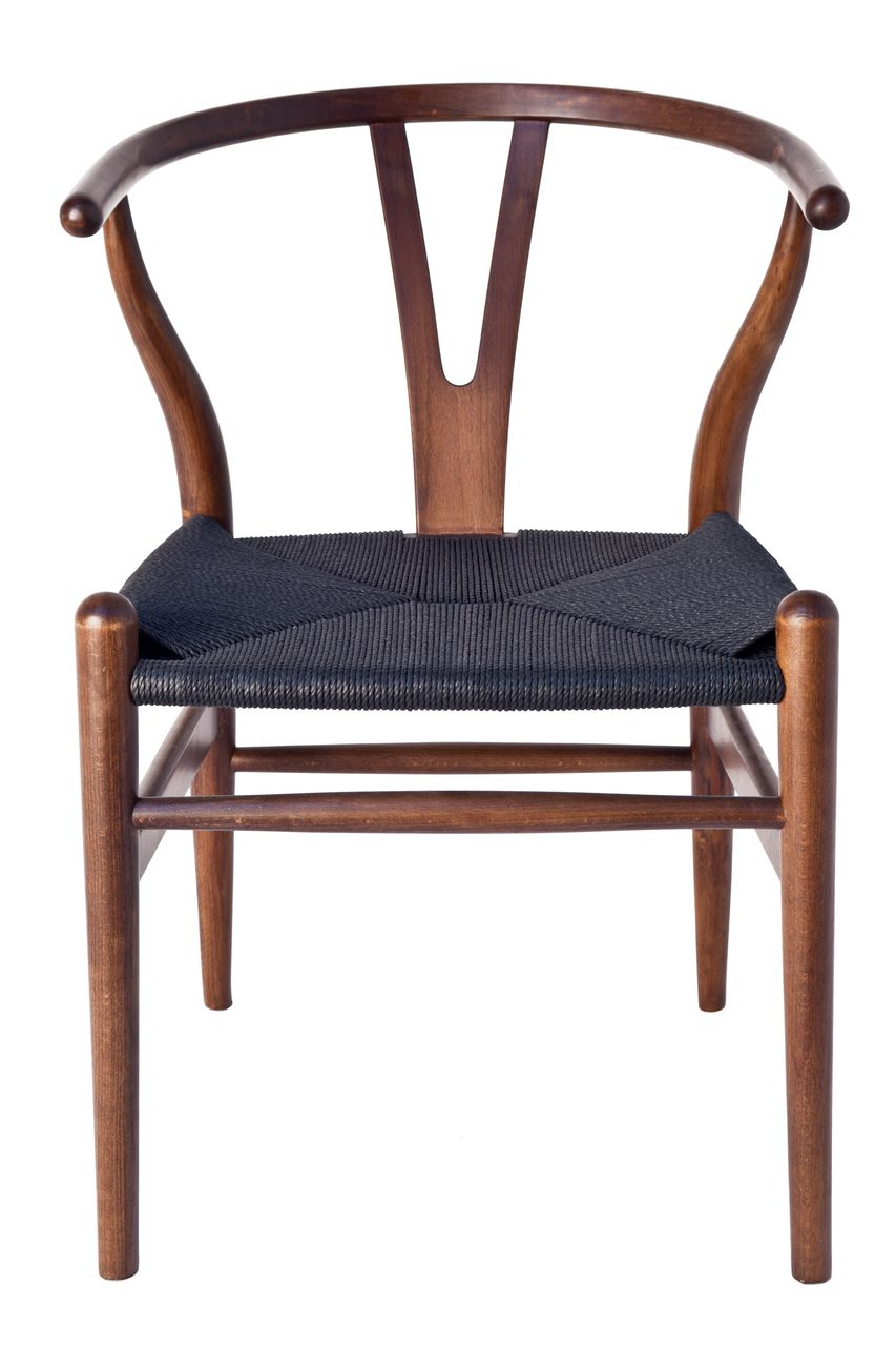 Milano Republic Furniture Replica Hans Wegner Wishbone Chair Walnut With Black Seat 179 00