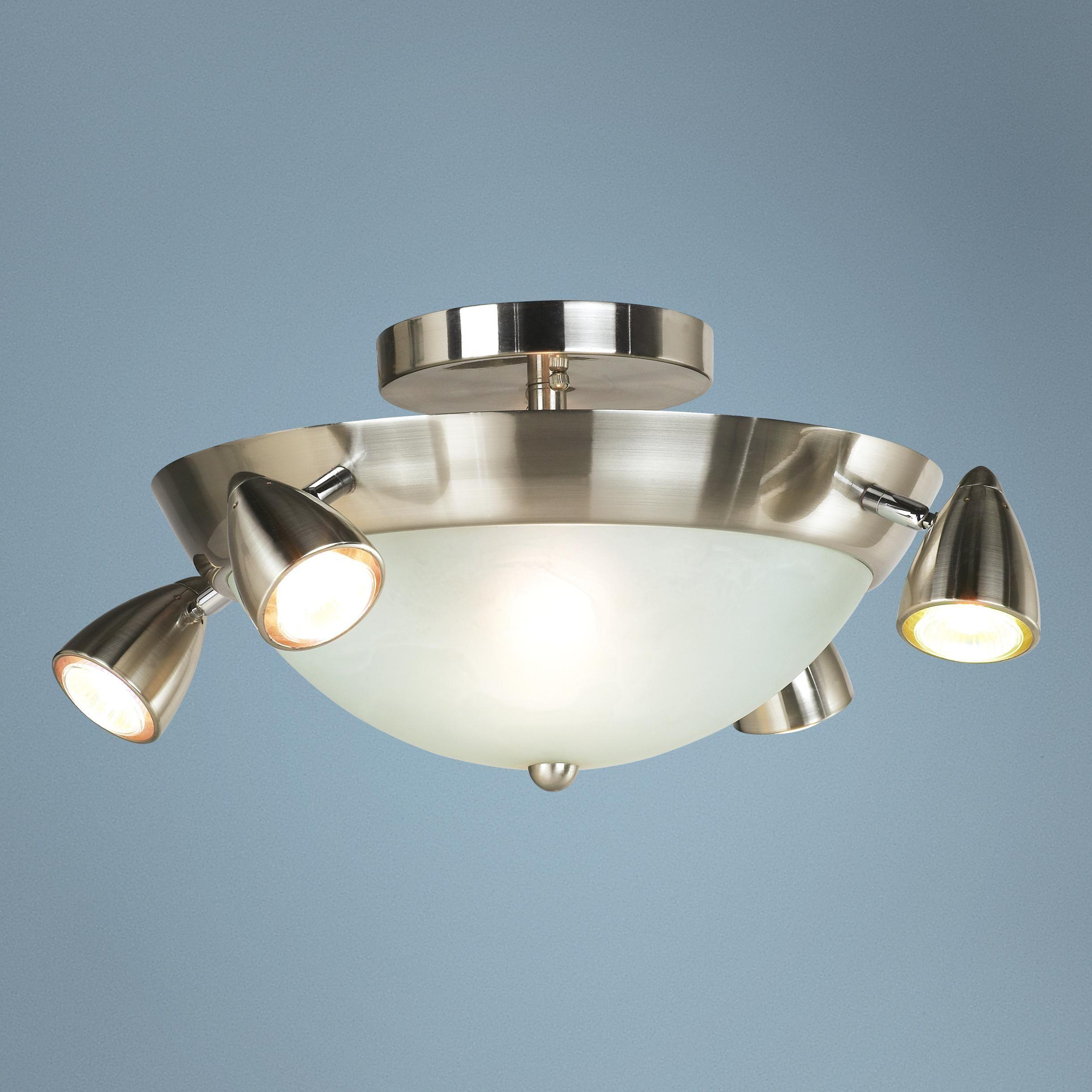 "Lighting Basement Washroom Stairs: Adjustable Bullet Head 20 1/2"" Wide Ceiling Light Fixture"