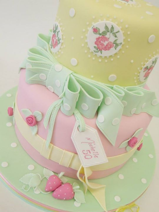 Beautiful Cake Pictures Colorful Pastel 50th Birthday Cake