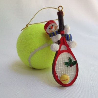 Big Tennis Racquet, Lil' Snowman Hanging On Ornament