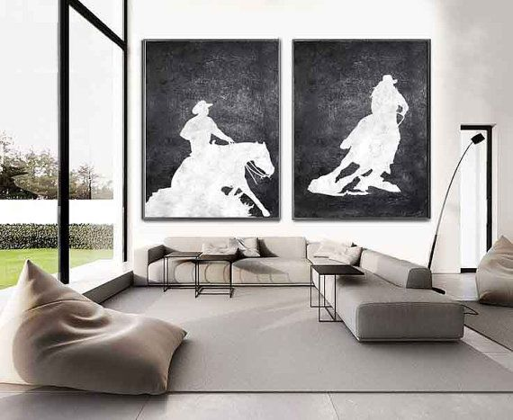 Set Of 2 Huge Contemporary Art Acrylic Painting by CelineZiangArt