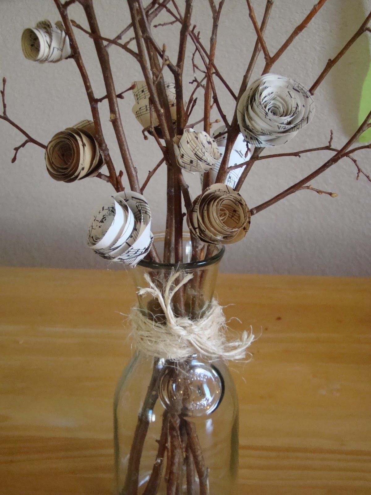 Flowers by post vase - Make Paper Flowers With Sheet Music Guest Post From Kim From Too Much Time On My Hands