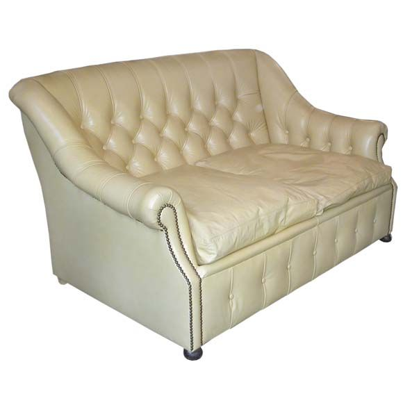 Tufted Leather Sofa Bed: Small Tufted Pale Yellow Leather Sofa Bed