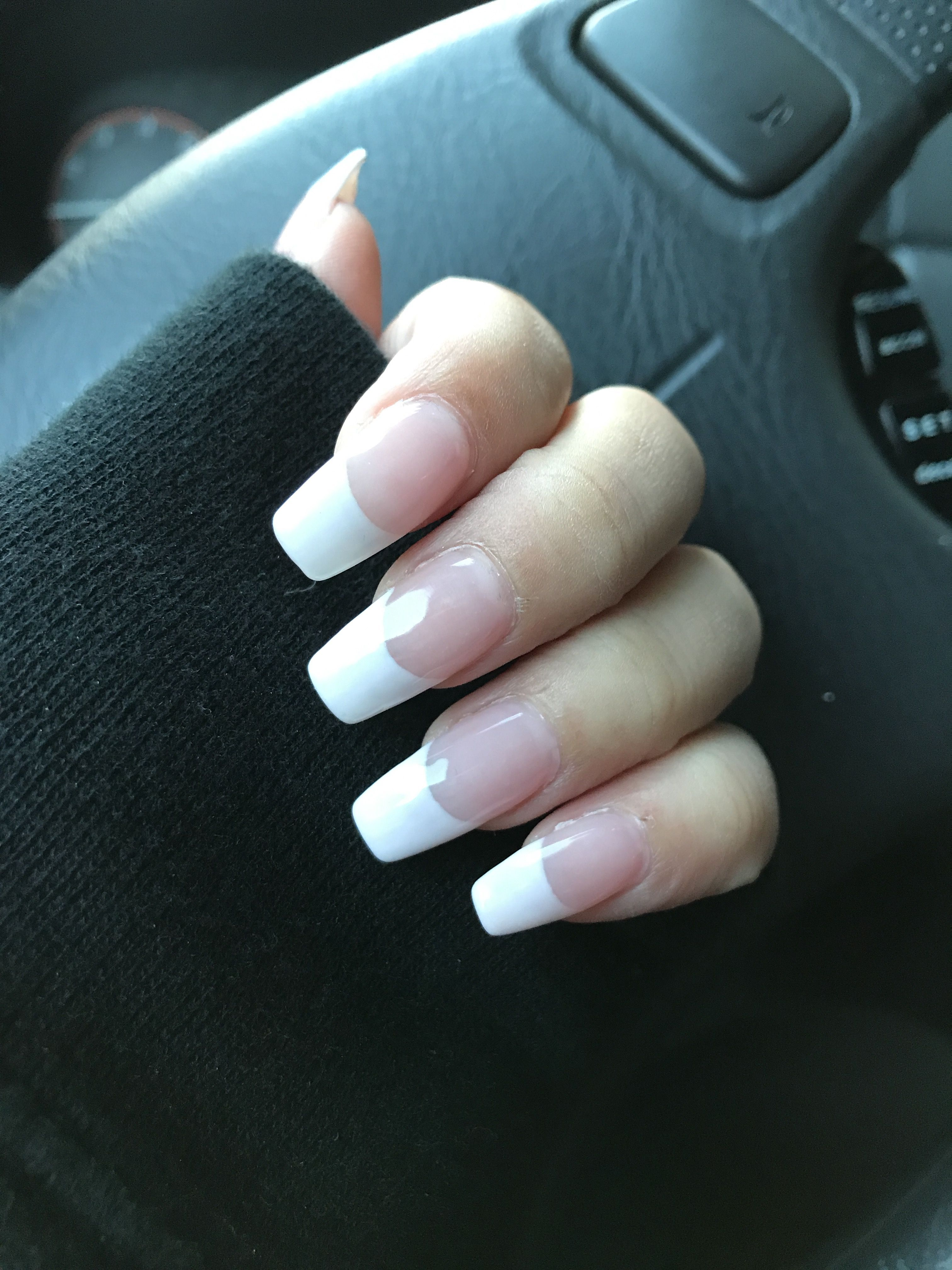French Manicure Coffin Nails Acrylicnaildesigns French Manicure Acrylic Nails Fake Nails French French Tip Nails