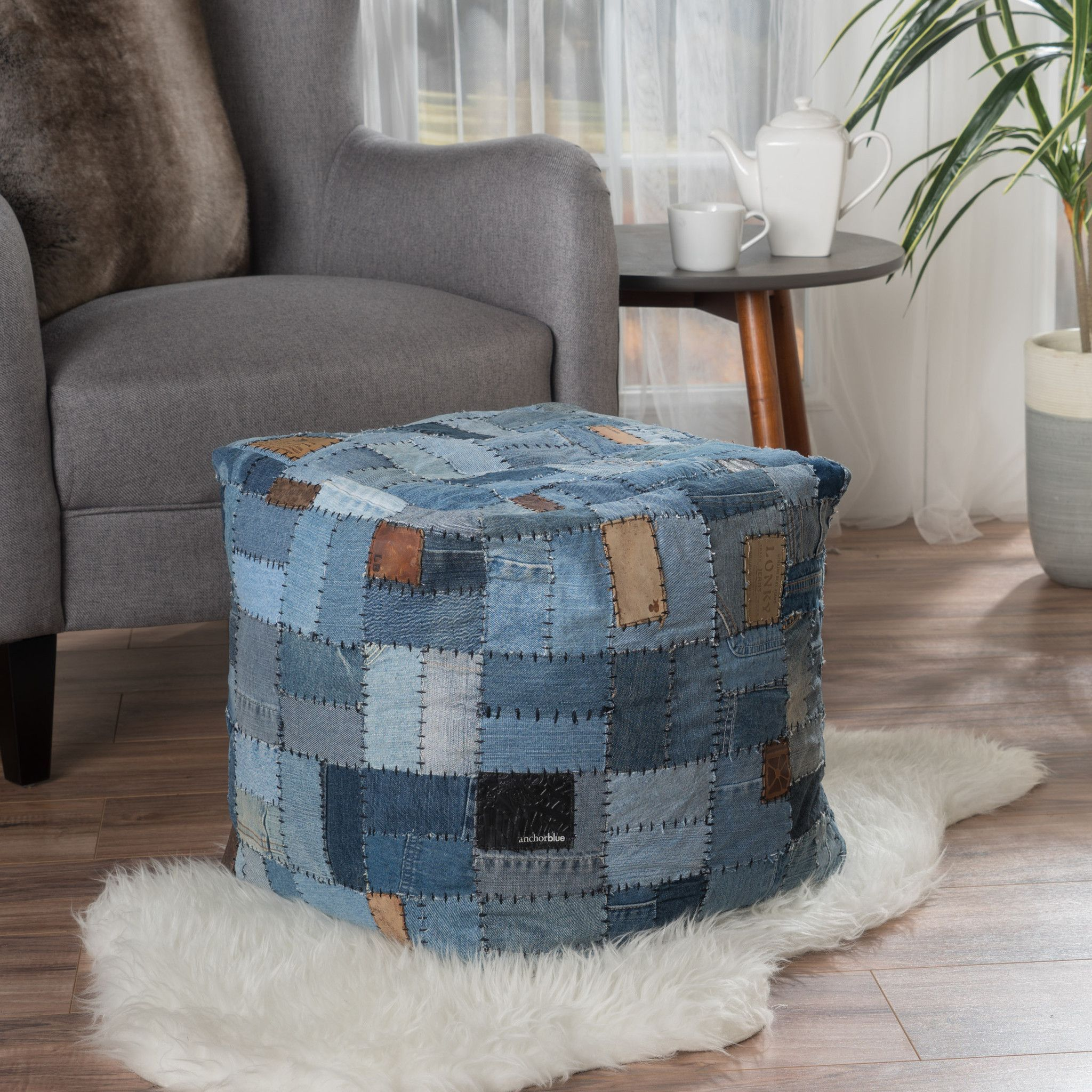 Kouture Artisan Jeans Label Patchwork Pouf The patchwork of ...