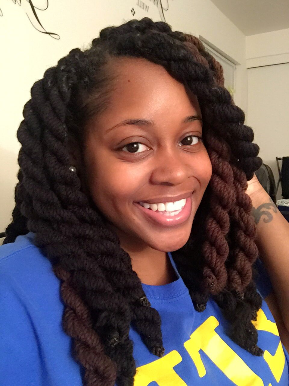 How wear to long yarn braids pictures