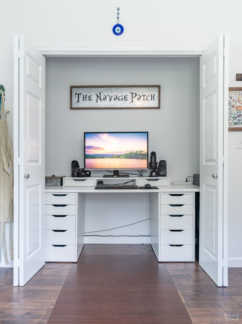 Closet To Office Makeover The Navage Patch Closet Office Office Makeover Closet Desk