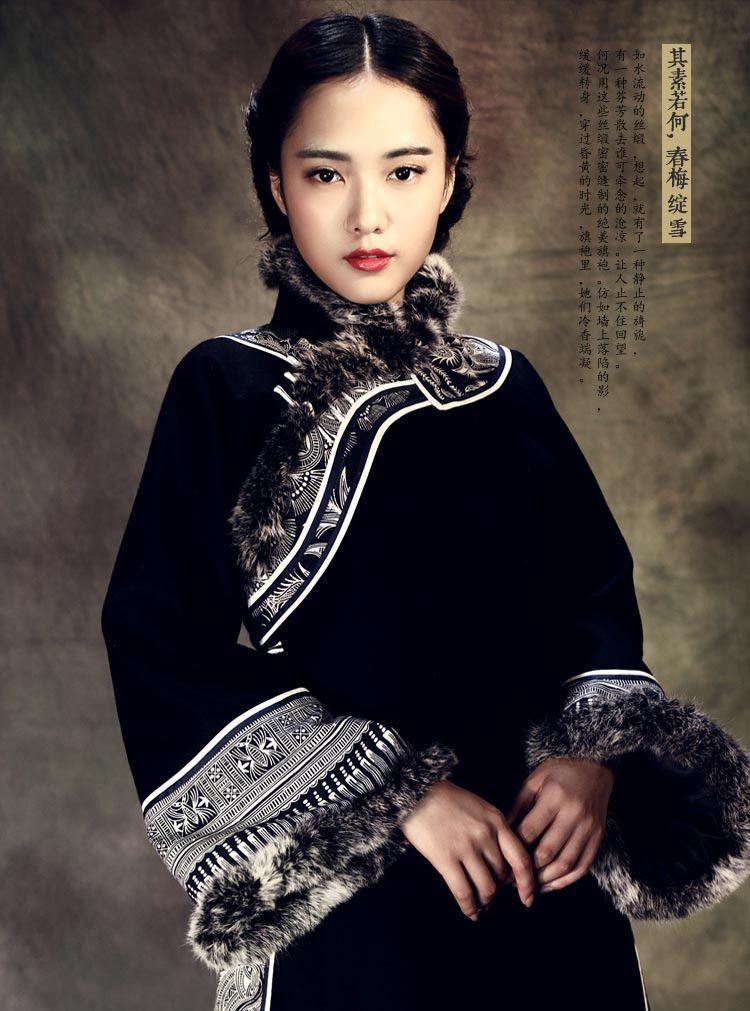 Genuine Wool Grand Winter Cheongsam Knit Tweed Long Coat