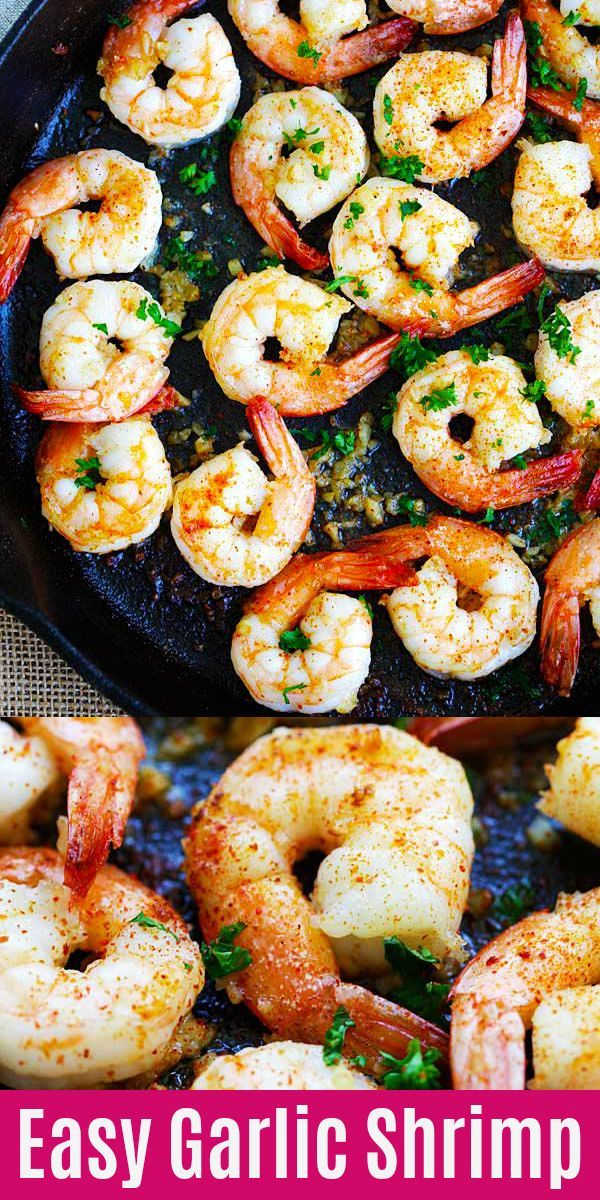 Garlic Shrimp Easy Garlic Shrimp with plump, juicy sauteed shrimp with garlic, butter, lemon juice