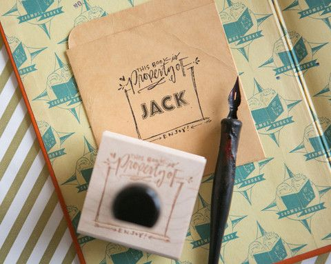 Personalized Bookplate Stamp! #bookplate #stamp #LindsayLEttersShop! #stamp