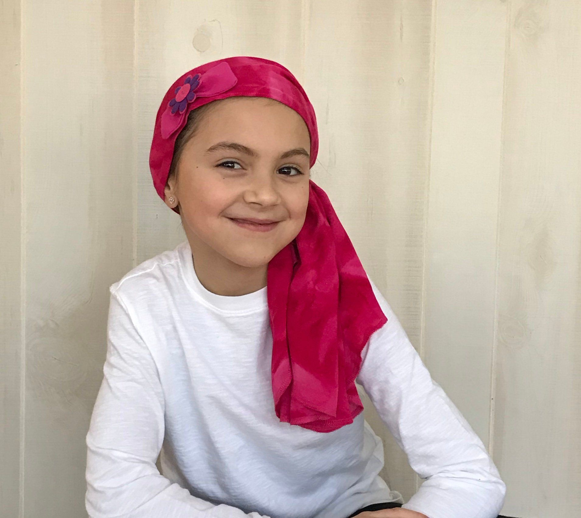 Children's Pre-Tied Head Scarves for children with #hairloss., Girl's #Chemo #Hat, #Cancer #HeadCover, #Alopecia #Headwear, #HeadWrap, #CancerGift, #Pink  #tiedye #pretied #headscarf #avascarf #lovemyIHC #tieheadscarves