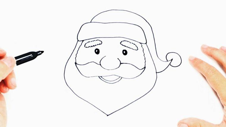 Disegni Di Babbo Natale Da Colorare Il Viso Del Babbo Con Barba E