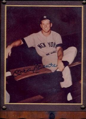 Mickey Mantle Autographed Photo On Wood Plaque With Loa