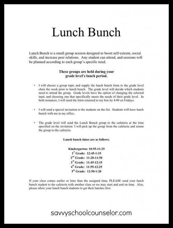Lunch Bunch Anyone? Planning and Scheduling Savvy School