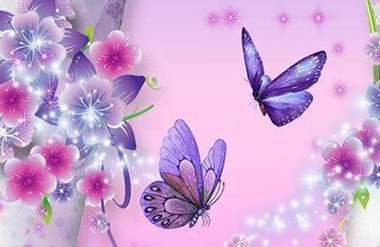 primavera fiori farfalle scintille lavanda rosa