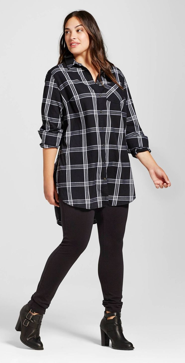Plus Size Plaid Button Down Tunic | Кэжуал наряды, Наряды ...