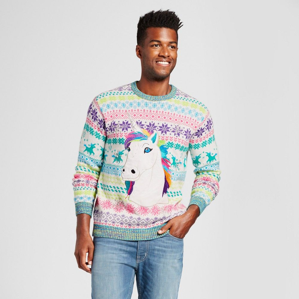 Mens Ugly Holiday Rainbow Unicorn Sweater 33 Degrees Cream Xl