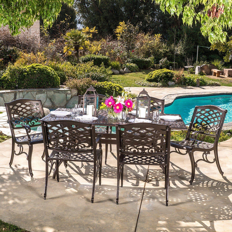 Amazon Com Covington Antique Bronze Outdoor Patio Furniture 5pcs Cast Aluminum Dining Set Patio Lawn Outdoor Dining Set Patio Dining Set 7 Piece Dining Set