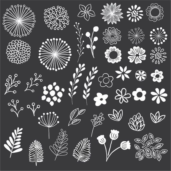 Chalkboard Floral Clipart - Clip Art - Floral Clipart - Chalk Clipart - Rustic Clipart - Boho Clipart - Vector AI and PNG - Instant Download #uniqueitemsproducts