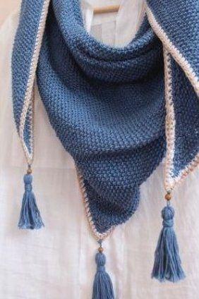 Perlmuster     Dreieckstuch mit Quasten     undiversell #rochet #knit #knit #crochet #knit #outfit