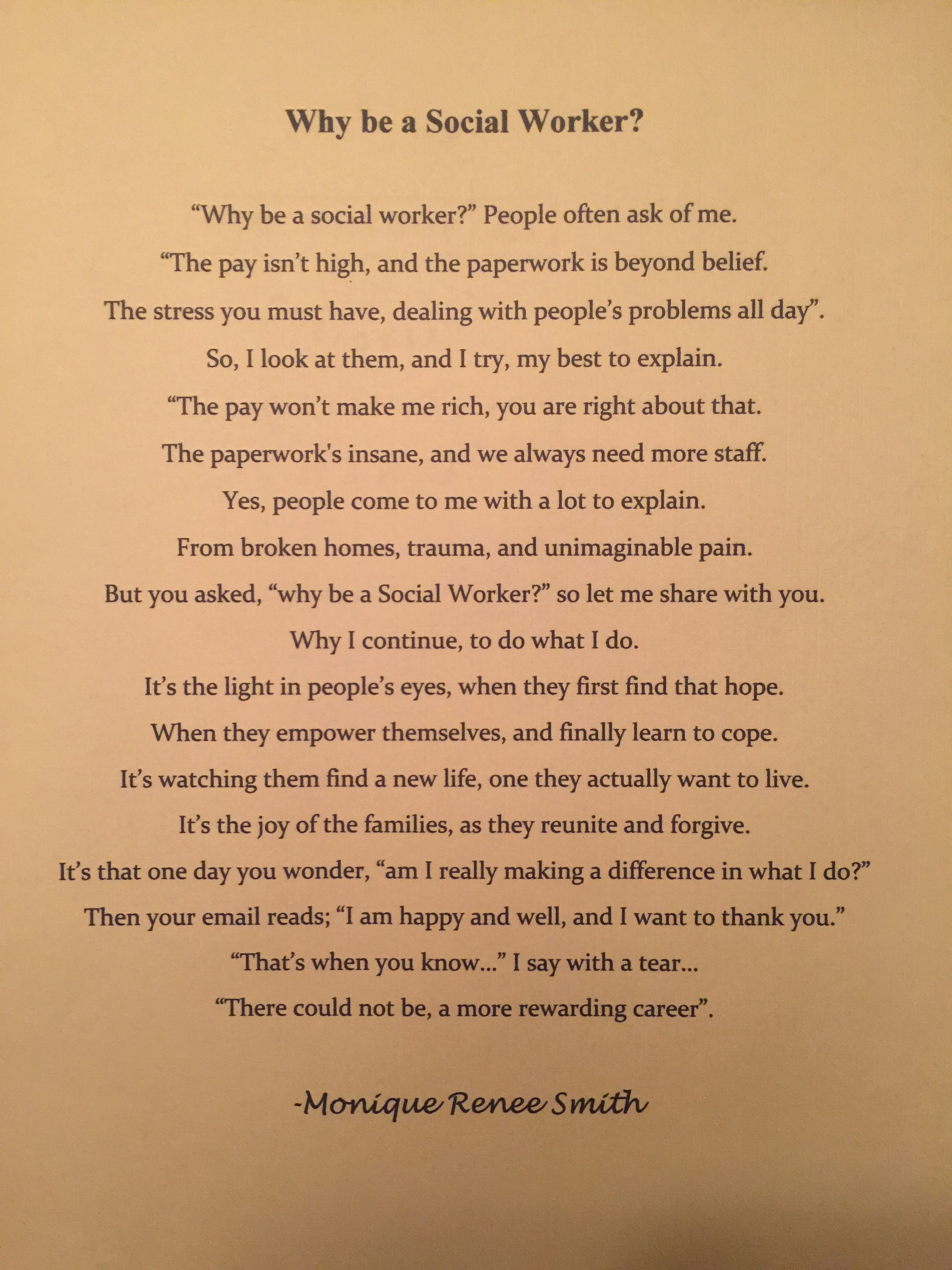 Why Be A Social Worker Poem Social Work Quotes Social Worker Quotes Work Quotes