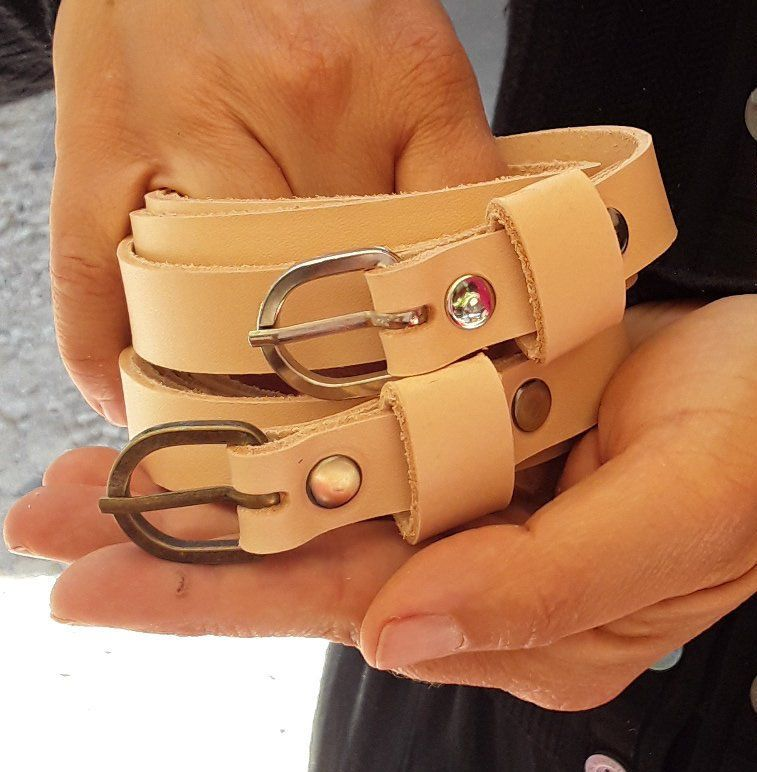 Tan Slim leather belt, minimalistic belt, Womans leather belt, Belt for dress, narrow belt, thin belt, high waist belt, petite ceinture cuir