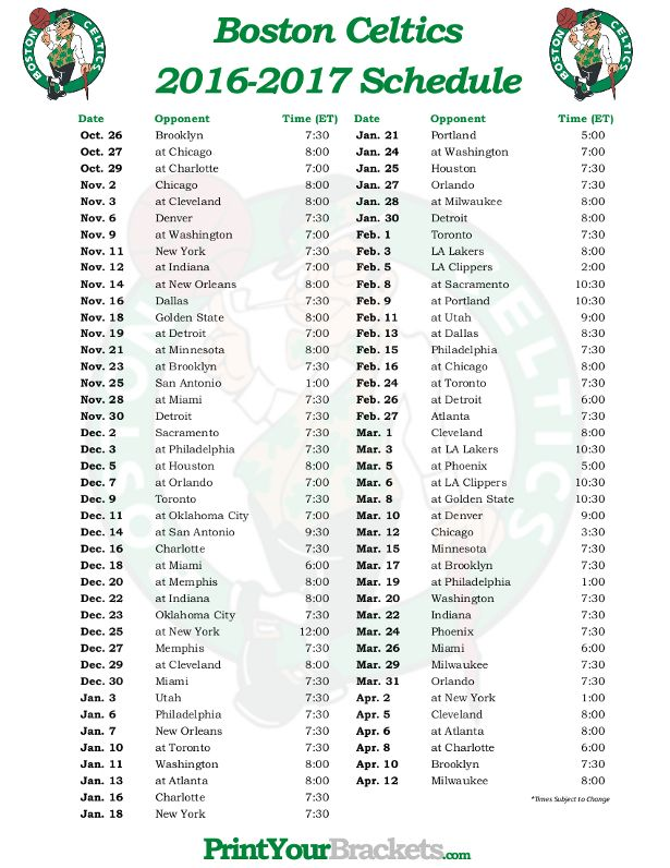 photo relating to Celtics Printable Schedule identify Printable Boston Celtics Basketball Timetable 2016 - 2017