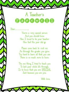 A teacher's farewell poem  Great for the end of year