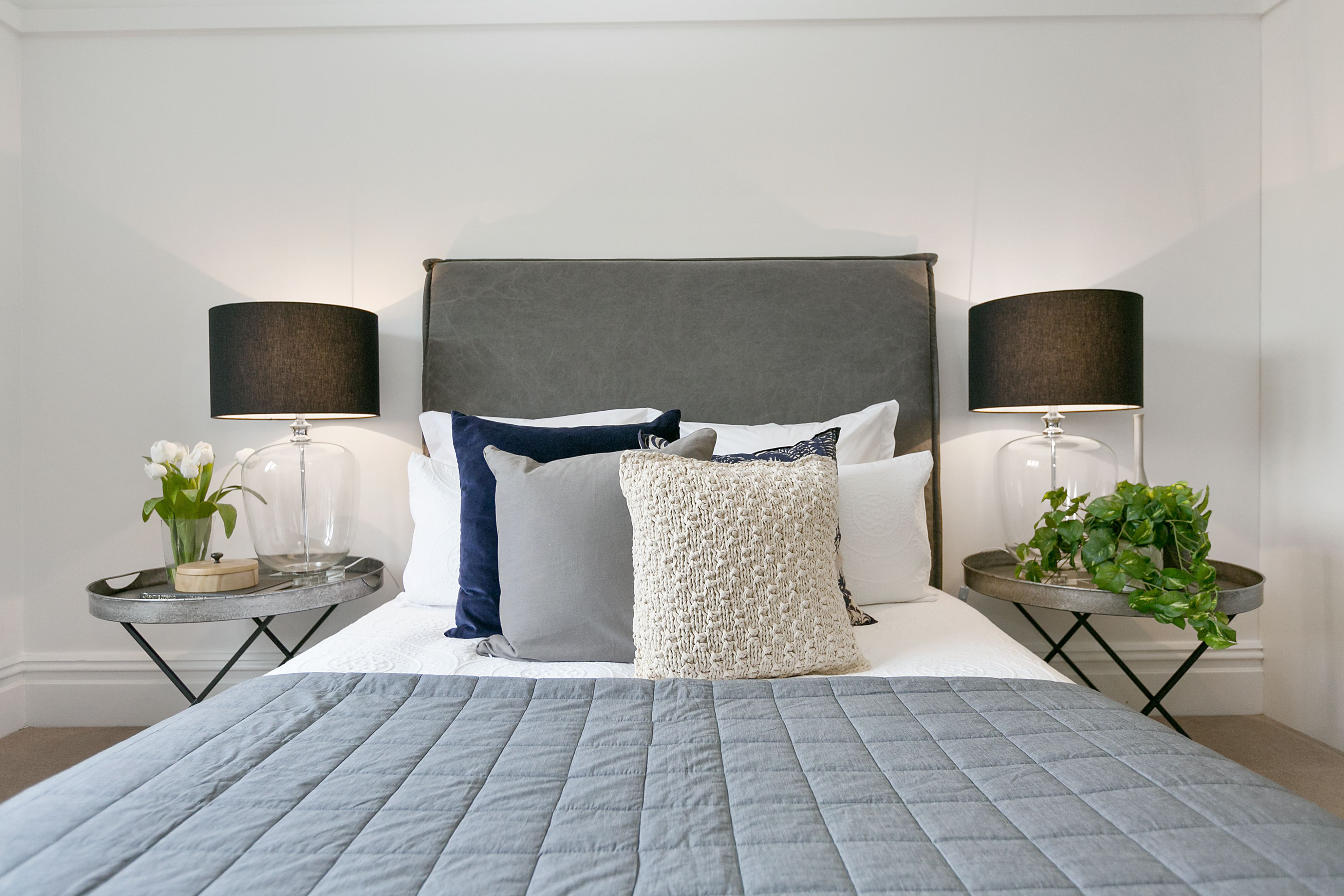 Master bedroom grey  Romantic master bedroom grey linen bedhead white linen with blue
