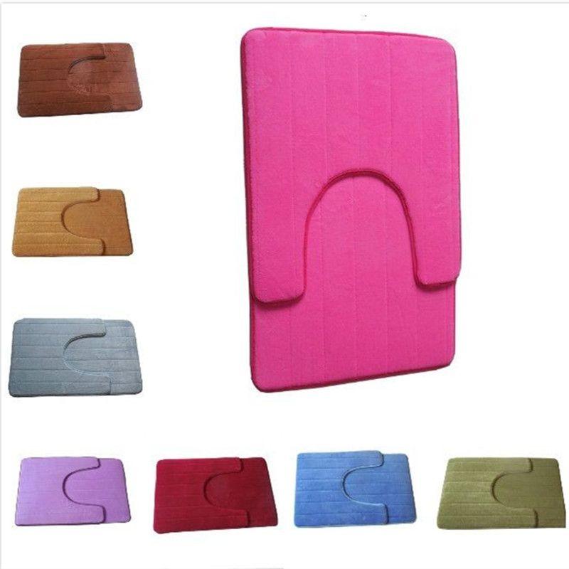 Coral Fleece Carpet Bathroom U Shaped Memory Foam Bath Mats Rug Set  Anti Slip