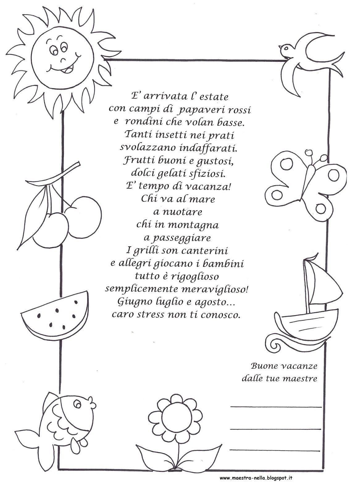 Maestra nella poesia arrivata l 39 estate cartelloni for Maestra gemma diritti dei bambini