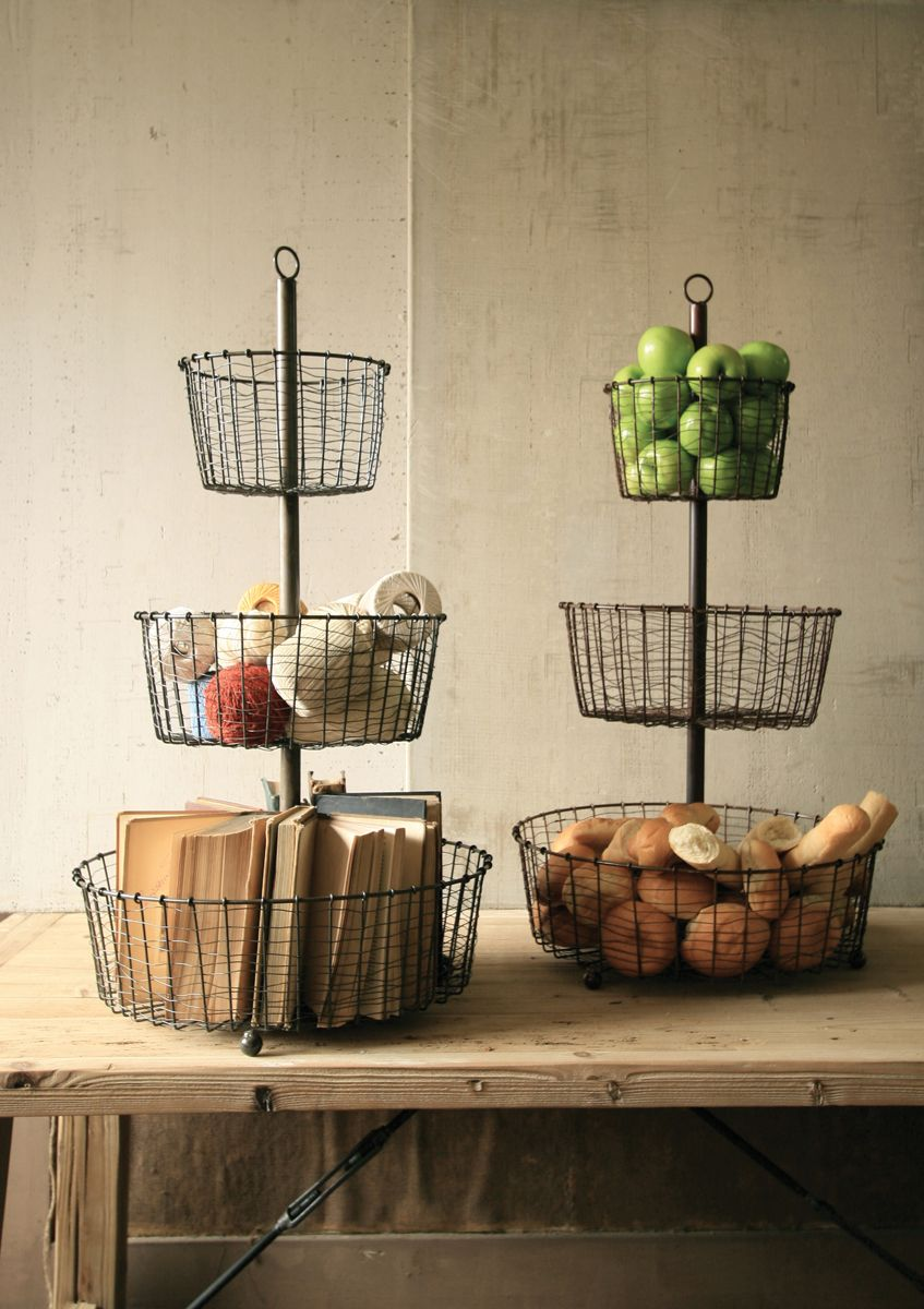 Wire Basket Tower With Raw Metal Finish | From At West End