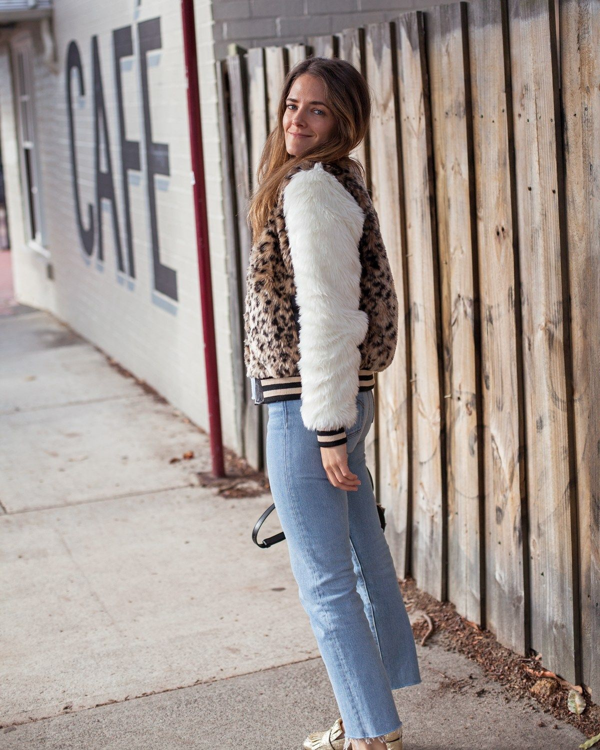 4b622ad1b Mother The Baseball Snap Jacket faux fur leopard print with Levi's ...
