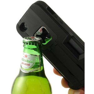 BLACK BOTTLE OPENER SOFT RUBBER SKIN HARD CASE STAND WALLET FOR APPLE iPHONE 5