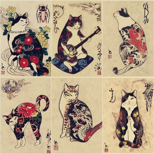 Japanese ukiyo-e print Samurady Cat Tattoo Cat Tattoo Shop Retro Poster Kraft Paper Decorative Mural Mural Picture | Wish