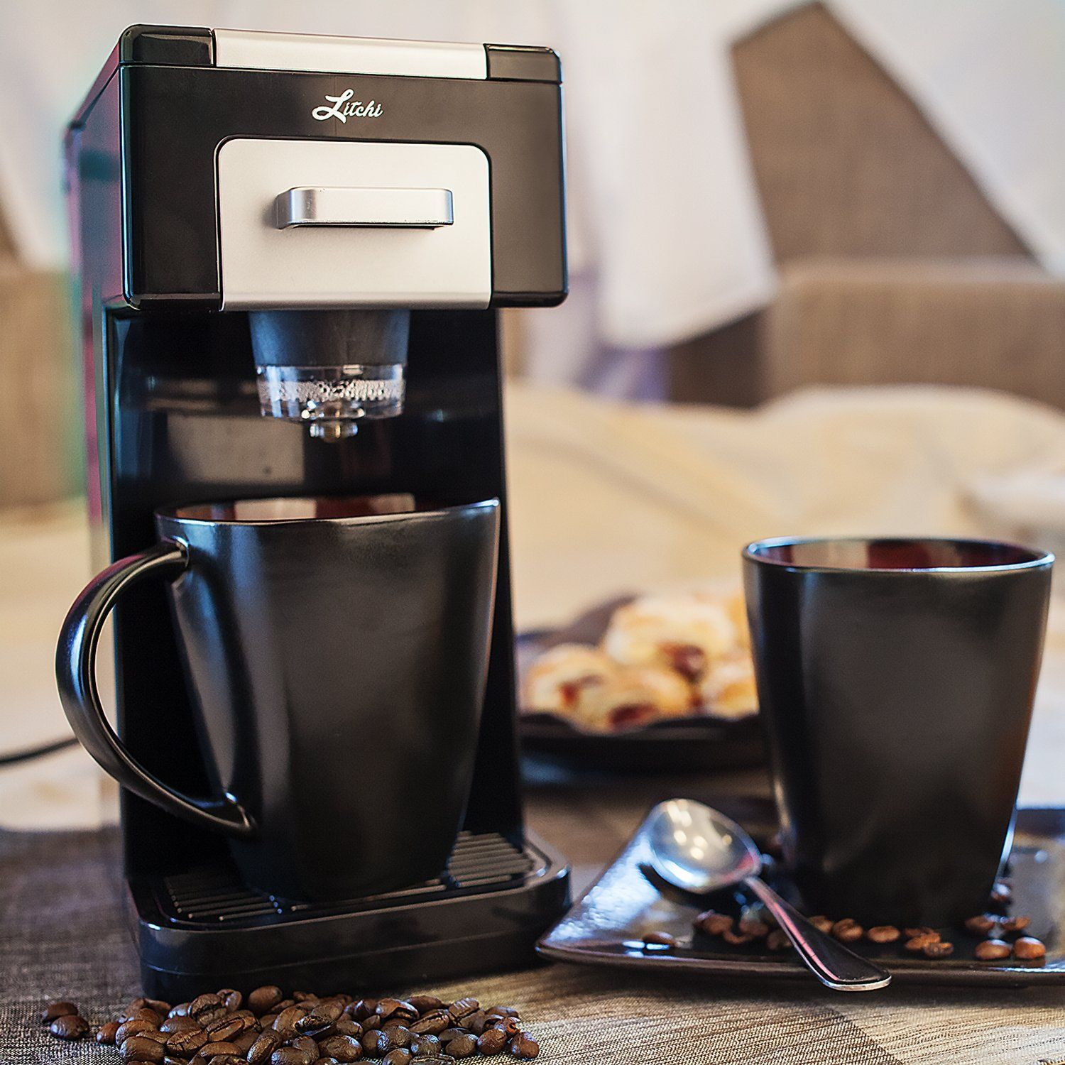 Litchi Single Serve Coffee Maker for Most Single Cup Pods