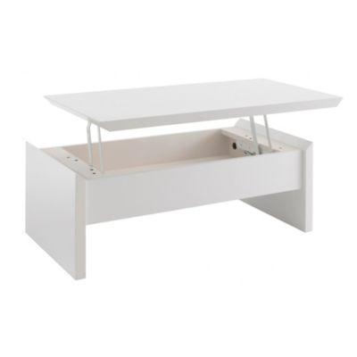 Produit Soley Table Basse Avec Plateau Relevable Blanc Theme La Magie Du Design Ajoute A La Lis Table Basse Avec Plateau Relevable Table Basse Deco Salon