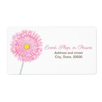 Pink Gerbera Daisy Flower Shipping Label Label Pink gerbera - shipping label