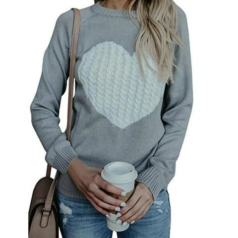dbb1f1dfd02 Winter Autumn Women Sweater Heart Printed Sweaters O-Neck Long Sleeve Casual  Pullover Top Knitted Sweater Female Plus Size GV647