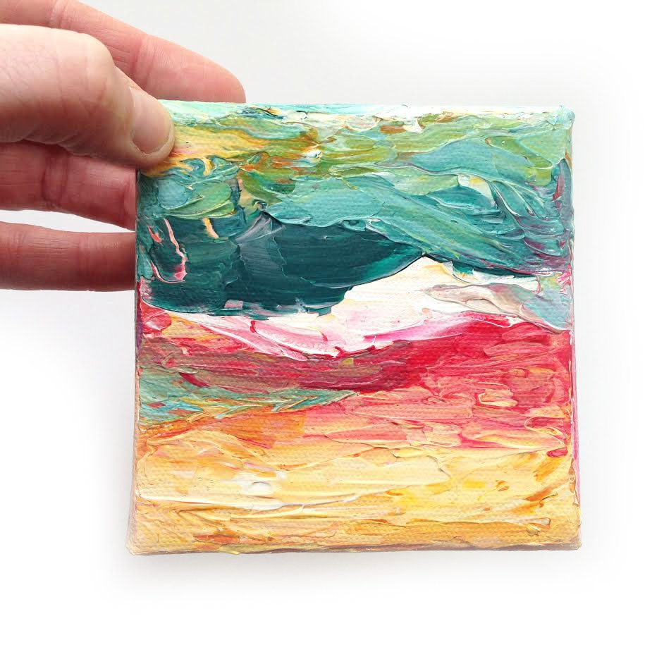 abstract mountain painting bright