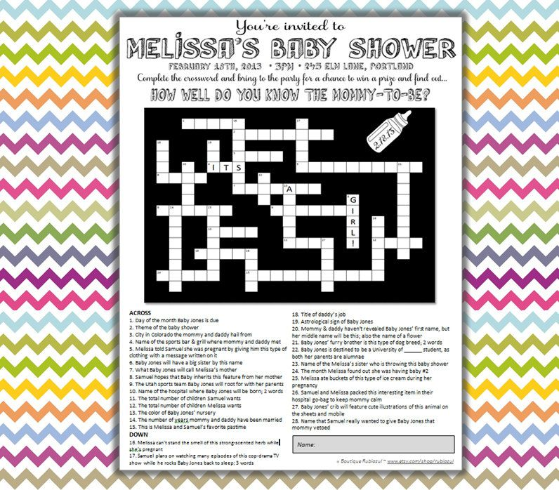 Customized Baby Shower Crossword Puzzle Use As A Fun And Unique