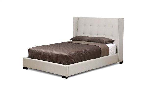 Platform bed, Beige Linen headboard and rails. Black wood feet. Black steel frame slats. Queen size only.