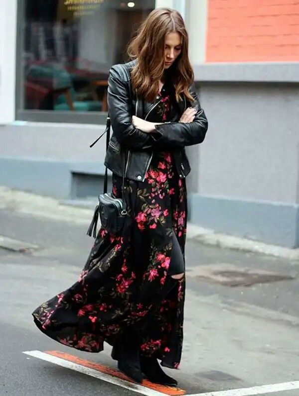 ea3984594e51 Long black floral dress with leather jacket.