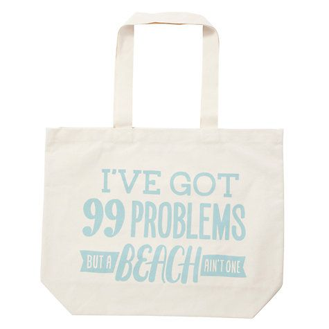Buy Alphabet Bags Big Canvas Tote Bag, 99 Problems Online at johnlewis.com