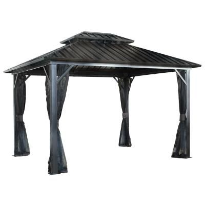 Sojag 12 Ft D X 16 Ft W Genova Ii Double Roof Aluminum Gazebo With Galvanized Steel Roof Panels And Mosquito Netting 500 9165074 The Home Depot In 2020 Aluminum Gazebo Hardtop Gazebo Gazebo