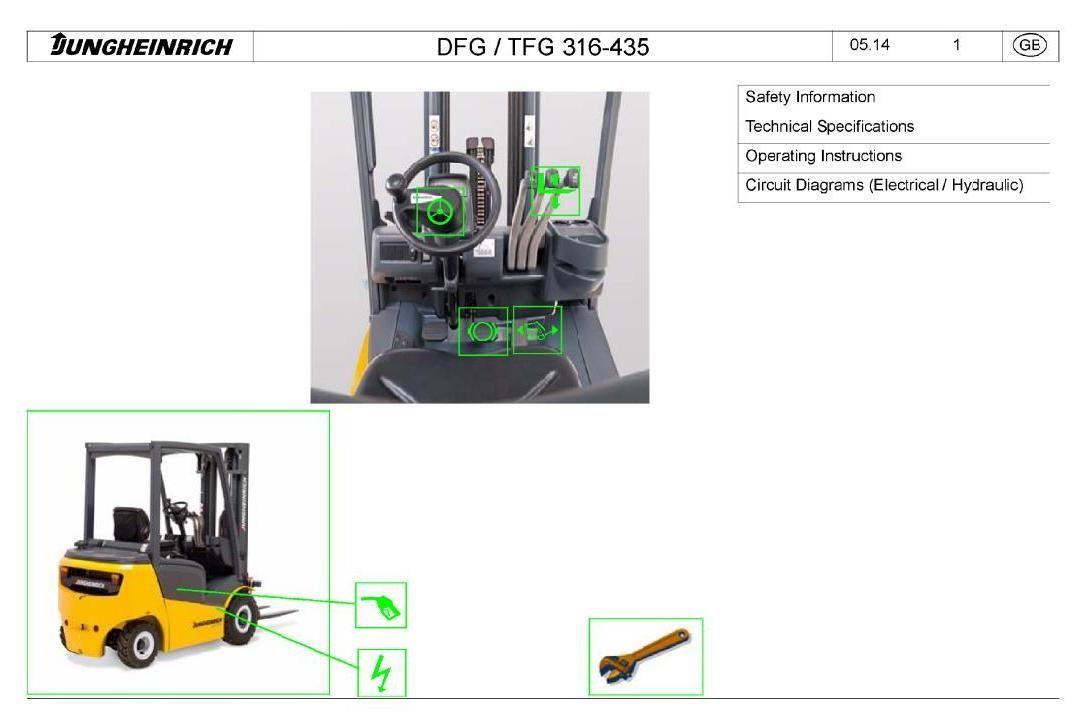 Original Illustrated Factory Workshop Service Manual for Jungheinrich Fork  Truck Type DFG/TFG 425-435. Original factory manuals for Jungheinrich  Forklift ...