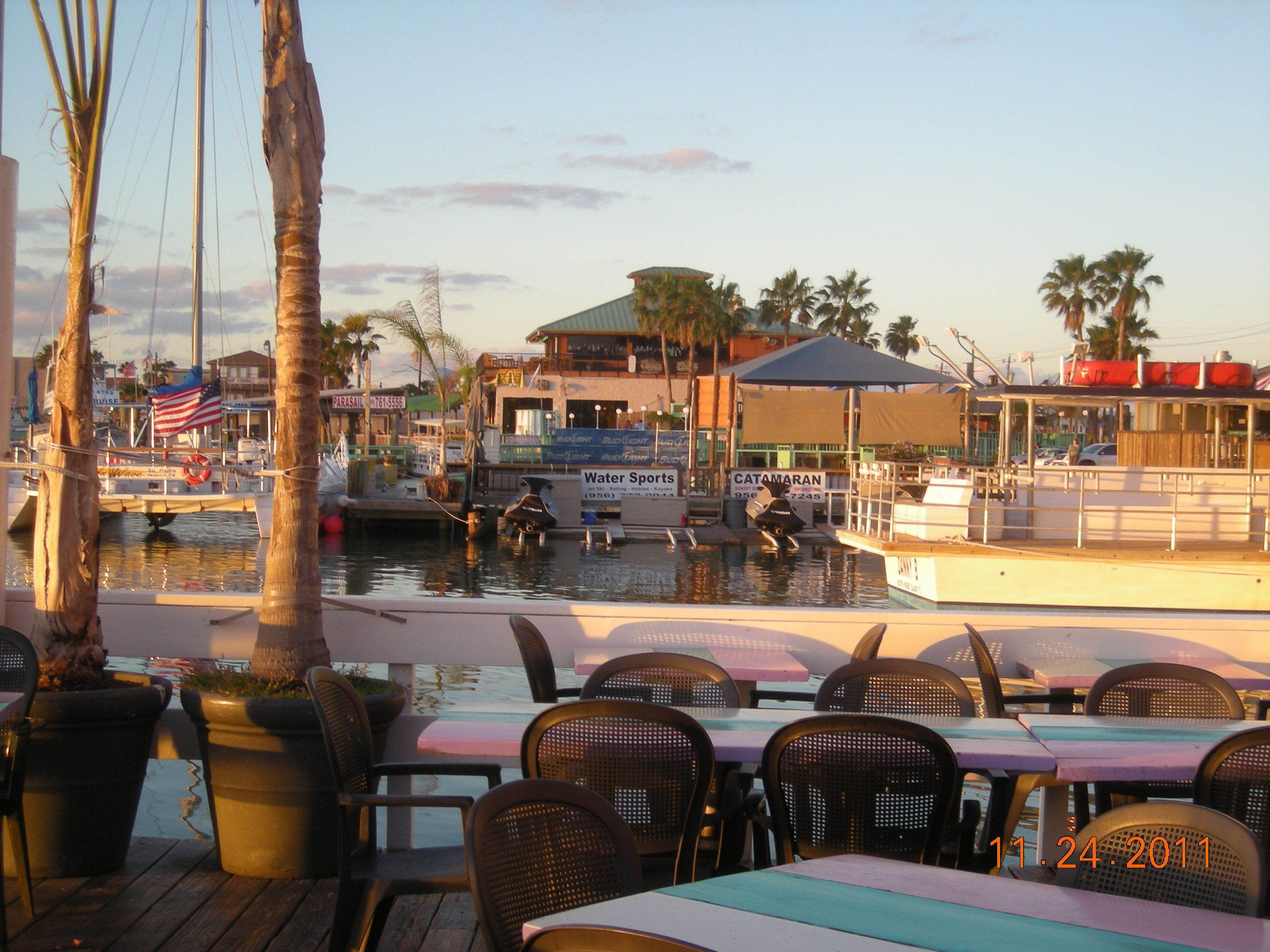 A view from Louie's Backyard Restaurant, South Padre ...