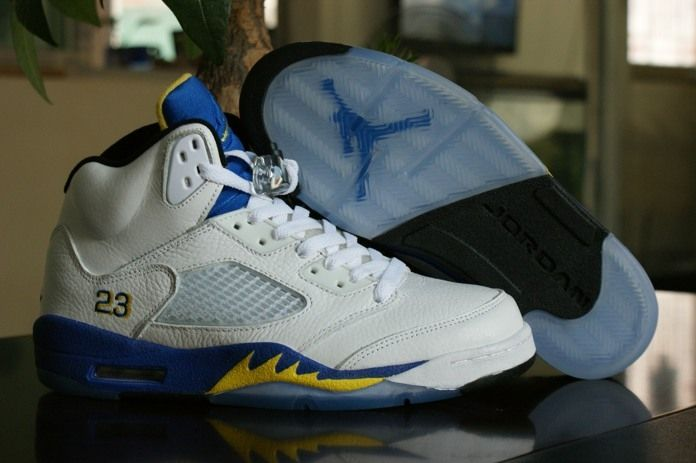 Nike Air Jordan V 5 Retro 2014 Limited Style White Blue