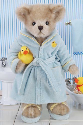 Bearington Wade And Waddles 14 Inch Teddy Bear In Robe With Duckie