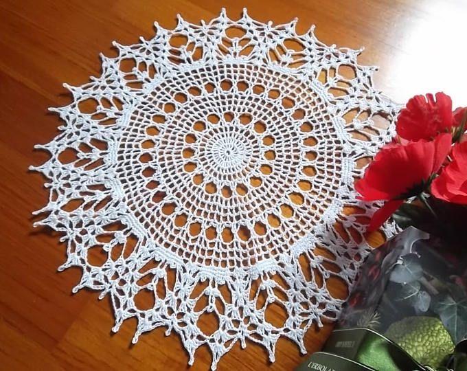 Crochet round lace doily white cotton placemat doily crochet ...